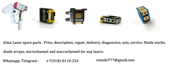 Alma Laser spare parts . Price, description, repair, delivery, diagnostics, sale, service. Diode stacks, diode arrays, microchannel and macrochannel for any lasers.